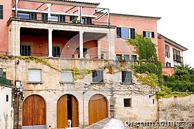 Majorca house facades at Palma de Mallorca