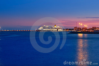 Majorca port with night glowing light in cruise