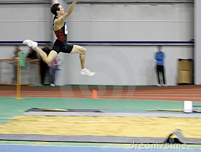 Makarchev Andriy wins second place the long jump Editorial Stock Photo