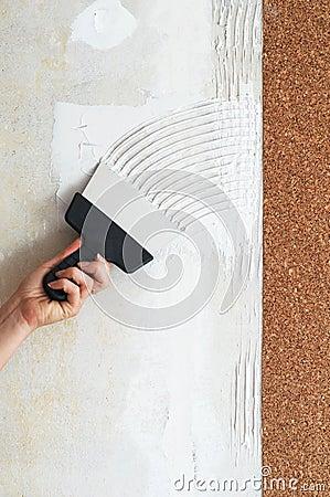 Make a smear for stick cork wallpaper