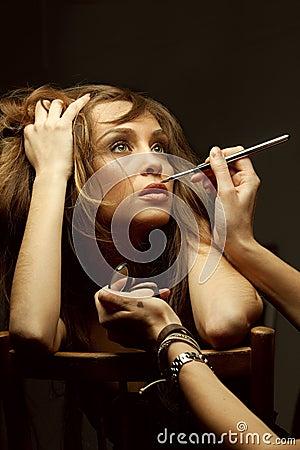 Free Make-up Artist Doing Glamour Makeup Royalty Free Stock Photo - 19150445
