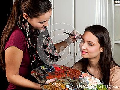 Make-up artist at work