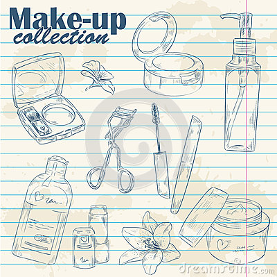 Make-up object lineart on notebook paper