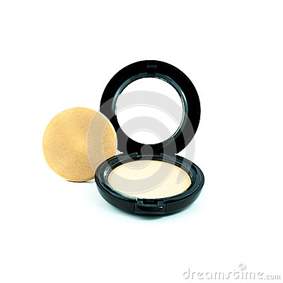 Make-up powder in box and make up brush isolated