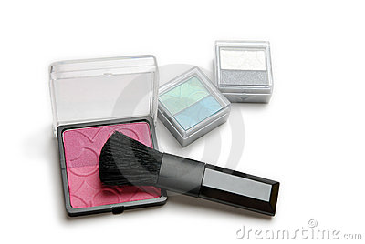 Make-up powder and brush