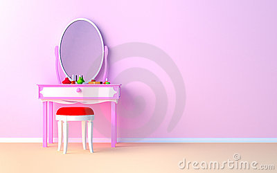 Makeup Desk on Make Up Table At The Wall Stock Photo   Image  21929400