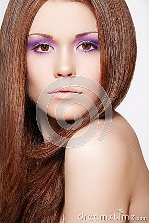 Make-up, wellness. Beautiful model with long hair
