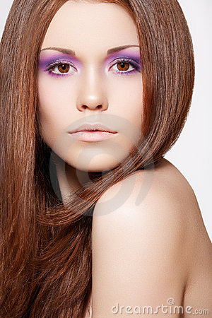 Free Make-up, Wellness. Beautiful Model With Long Hair Stock Images - 20286034
