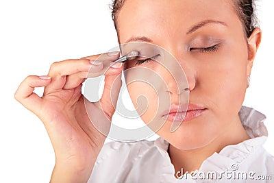 Make up. woman eyelid