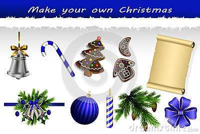 Make Your Own Christmas Set Stock Vector Image 63462587