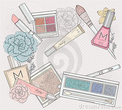 Free Makeup And Cosmetics Background. Royalty Free Stock Photography - 23660917
