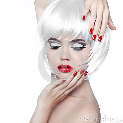 Free Makeup And Hairstyle. Red Lips And Manicured Nails. Fashion Beau Royalty Free Stock Image - 31487896