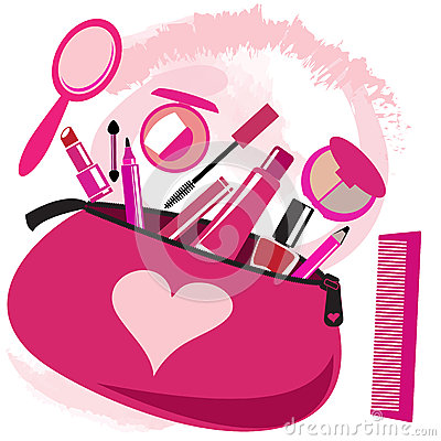 Free Makeup Bag With Beautician Tools Royalty Free Stock Photography - 65833457