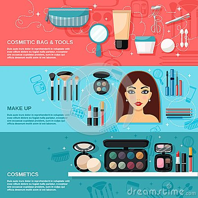 Free Makeup Banner Set Royalty Free Stock Images - 50565989