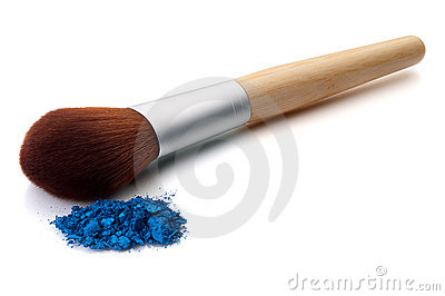 Makeup brush with blue make-up