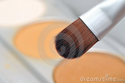 Makeup brush with powder