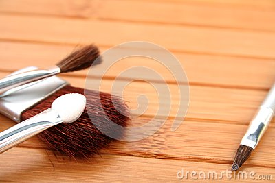 Makeup brushes on wood