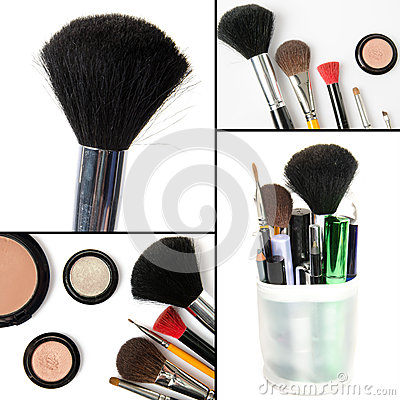 Free Makeup Collage, Brushes, Eyeshadows, Mascara Royalty Free Stock Photos - 40773898