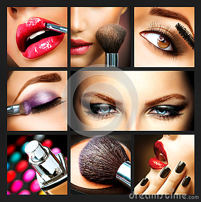 Makeup Collage Stock Photo