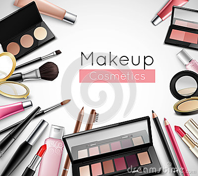 Free Makeup Cosmetics Accessories Realistic Composition Poster Royalty Free Stock Image - 79062836