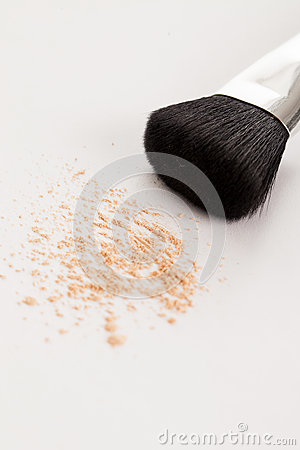 Makeup natural brush with beige powder