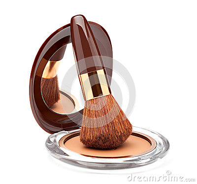 Free Makeup Powder And Brush Royalty Free Stock Photo - 30562475