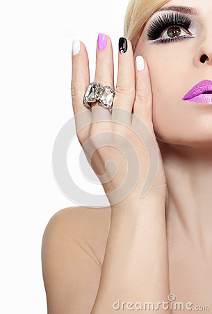 Free Makeup With Pink Lips And Nail Polish. Stock Photo - 62494900