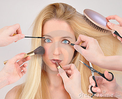 Makeup Woman getting Makeover