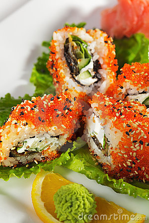 Maki Sushi - Eel and Tobiko Roll