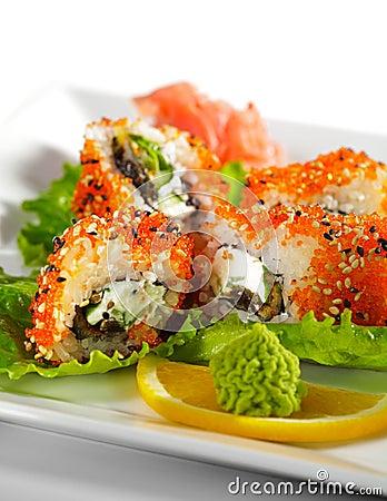 Maki Sushi - Eel and Tobiko Roll