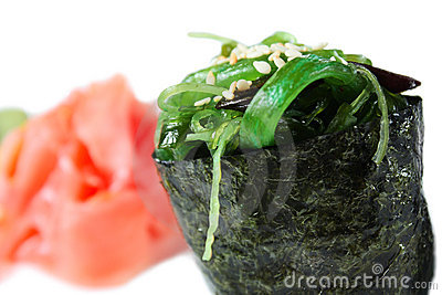 Maki sushi with green seaweed