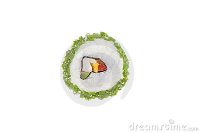 Maki sushi piece.