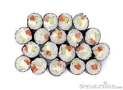 Maki sushi rolls with salmon and California cheese