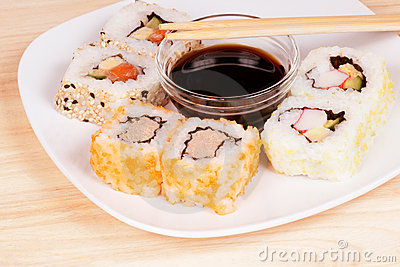 Maki sushi with soy sauce