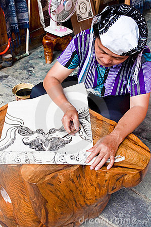 Making a Batik Tapestry Editorial Stock Photo