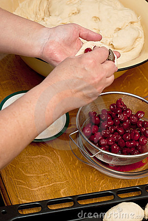 Making cherry pies