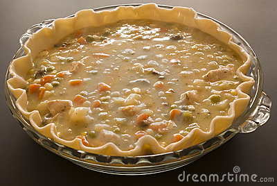 Making chicken pot pie