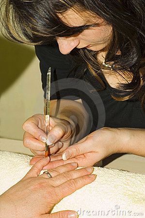 Making of french nail manicure