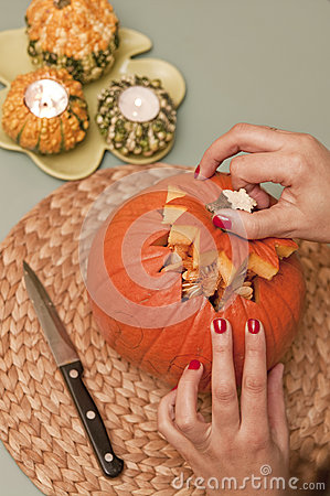 Making of halloween pumpkin lantern