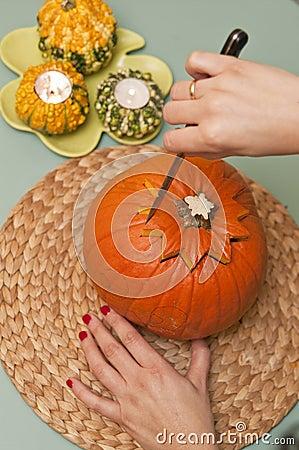 Making of halloween pumpkin lantern