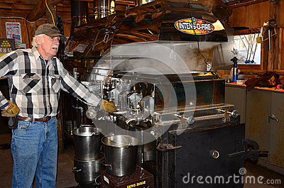 Making maple syrup Editorial Stock Image