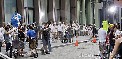 Making movies  in NYC Editorial Stock Image