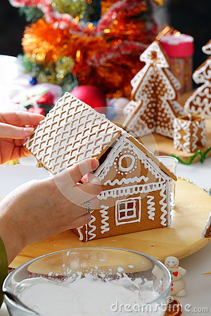 Free Making Of Gingerbread House Stock Image - 79285121