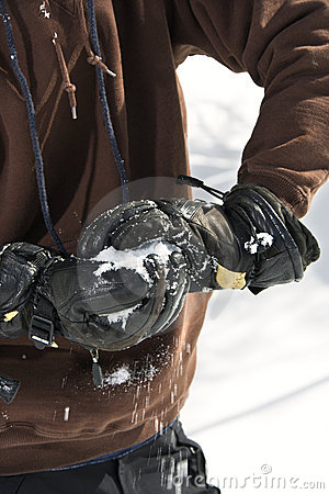 Making of a snowball.