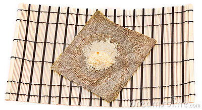Making Sushi on a bamboo sushi mat