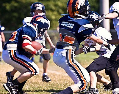 Making a Touchdown Youth Football Editorial Photography