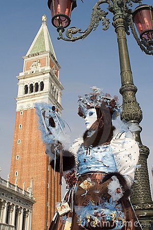 Free Maks From Venice Carnival And Bell-tower Stock Photo - 8312260