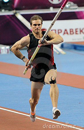 Maksym Mazuryk competes in the Samsung Pole Vault Editorial Stock Image