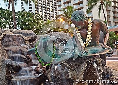 Makua & Kila statue in Waikiki, Oahu Island Hawaii