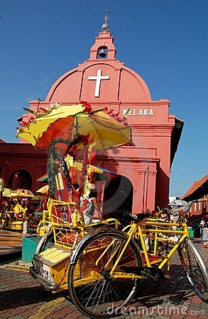 Free Malacca Tricycle & The Church Stock Photography - 3068642